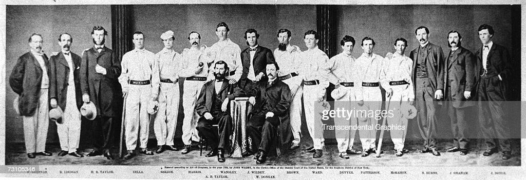 The Mutual Base Ball Club lines up for a team photograph with their officers in a New York City studio during the season of 1864.