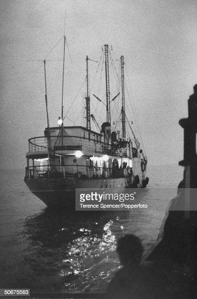 The mv Cheeta II temporary home of Pirate radio station Radio Caroline anchored off the east coast of England The station's original vessel the MV Mi...