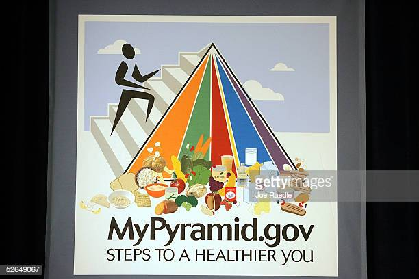 The MyPyramid a new symbol and interactive food guidance system that replaces the old Food Guide Pyramid April 19 in Washington The MyPyramid symbol...
