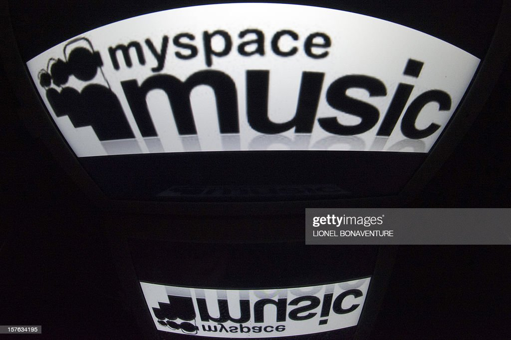 The 'Myspace' logo is seen on a tablet screen on December 4, 2012 in Paris.