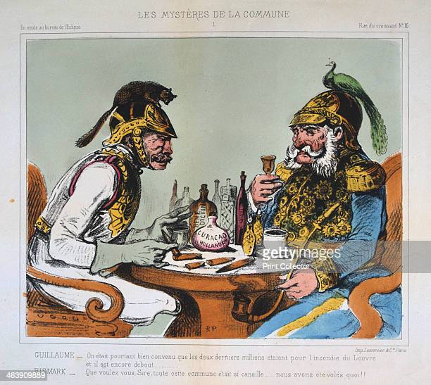 'The Mysteries of the Commune' 1871 Satirical cartoon depicting Bismarck and Wilhelm I of Germany at the time of the Paris Commune From a private...