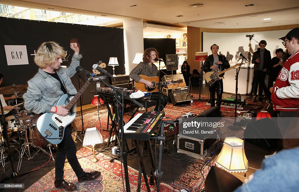 The <a gi-track='captionPersonalityLinkClicked' href=/galleries/search?phrase=Mystery+Jets&family=editorial&specificpeople=537520 ng-click='$event.stopPropagation()'>Mystery Jets</a> perform during the Gap Partnership with Lion Coffee + Records Launch Party at Gap Flagship Store, Oxford Street on February 10, 2016 in London, England.