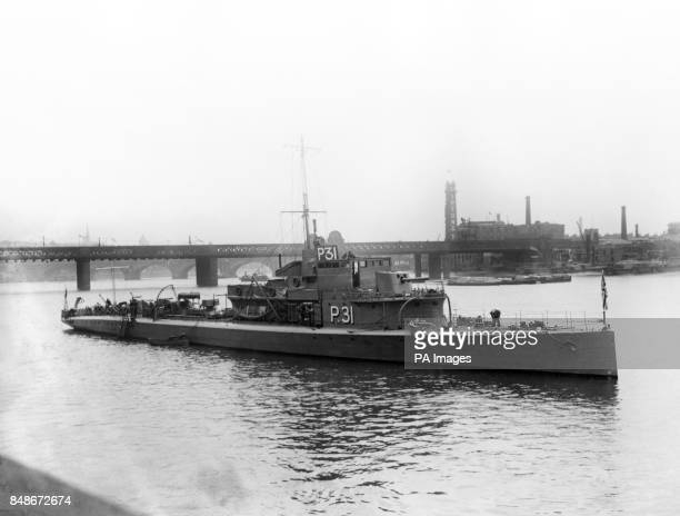 The mystery ship P31 which is commanded by Lt Com Mountbatten lying in the Thames off the House of Commons in 1919