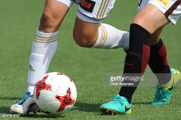 the Nadeshiko League matchball is seen during the Nadeshiko League match between Urawa Red Diamonds Ladies and Mynavi Vegalta Sendai Ladies at Urawa...