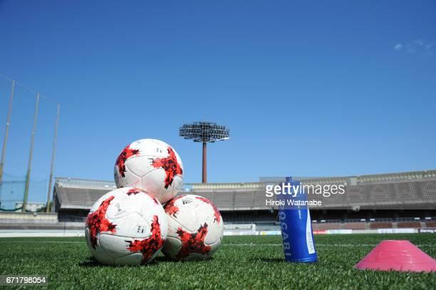 the Nadeshiko League matchball is seen prior to the Nadeshiko League match between Urawa Red Diamonds Ladies and NTV Beleza at Urawa Komaba Stadium...