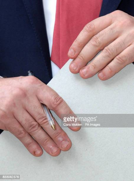The nails of Britain's Chancellor and Prime Ministerinwaiting Gordon Brown at a Labour Party leadership hustings at the Trade Union Congress...