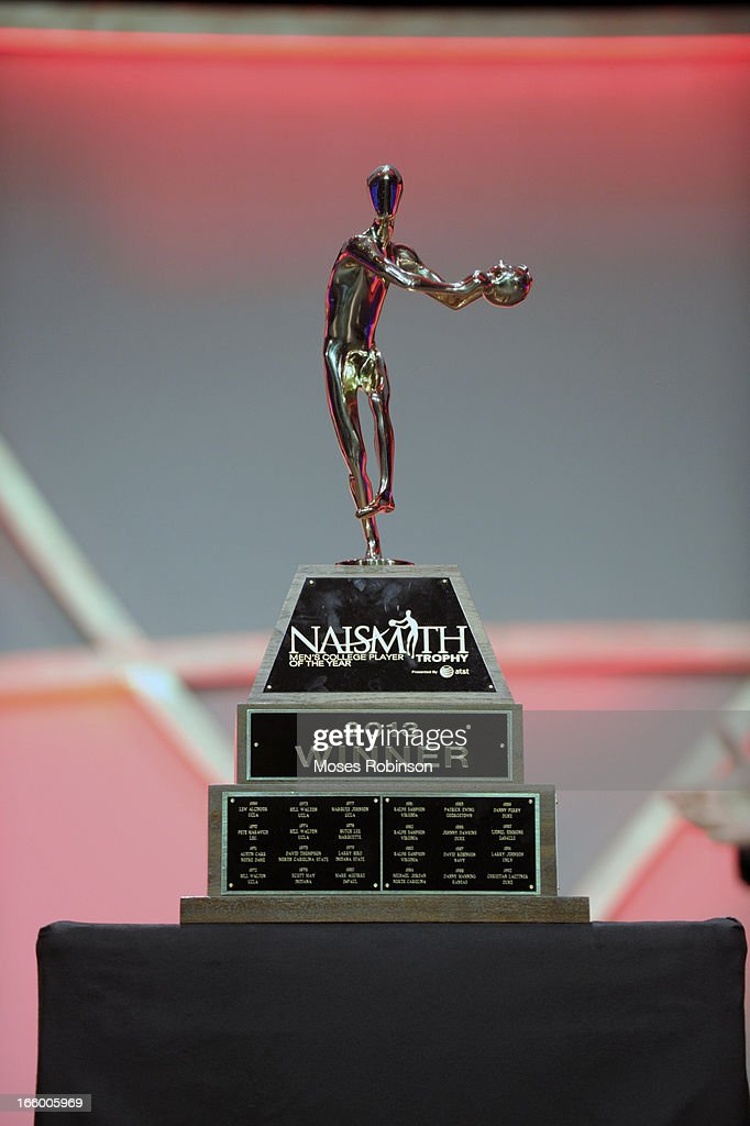 The Naismith Trophy is displayed at the Georgia World Congress Center during the NABC Guardians of the Game Awarding of the Naismith Trophy Presented by AT&T on April 7, 2013 in Atlanta, Georgia.