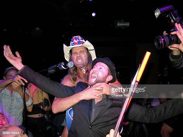 The Naked Cowboy and Dustin Terry are seen at Dustin Terry's Birthday Celebration at PHD Lounge in the Dream Hotel on January 30 2016 in New York City