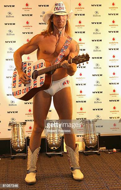 The Naked Cowboy attends a launch party for Myer's '3 weeks in New York' at Studio 54 on May 12 2008 in Melbourne Australia
