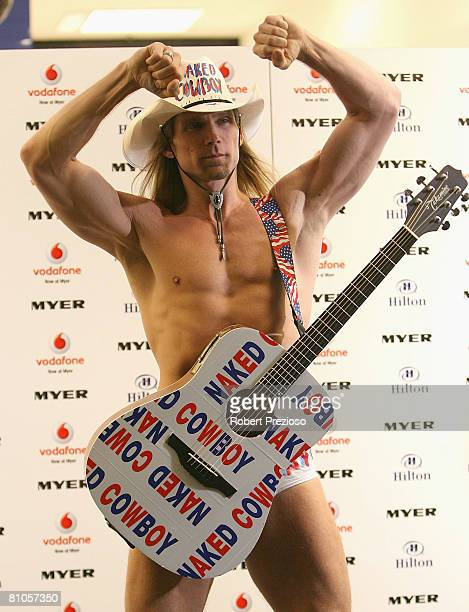 The Naked Cowboy poses for photos during a launch party for Myer's '3 weeks in New York' at Studio 54 on May 12 2008 in Melbourne Australia