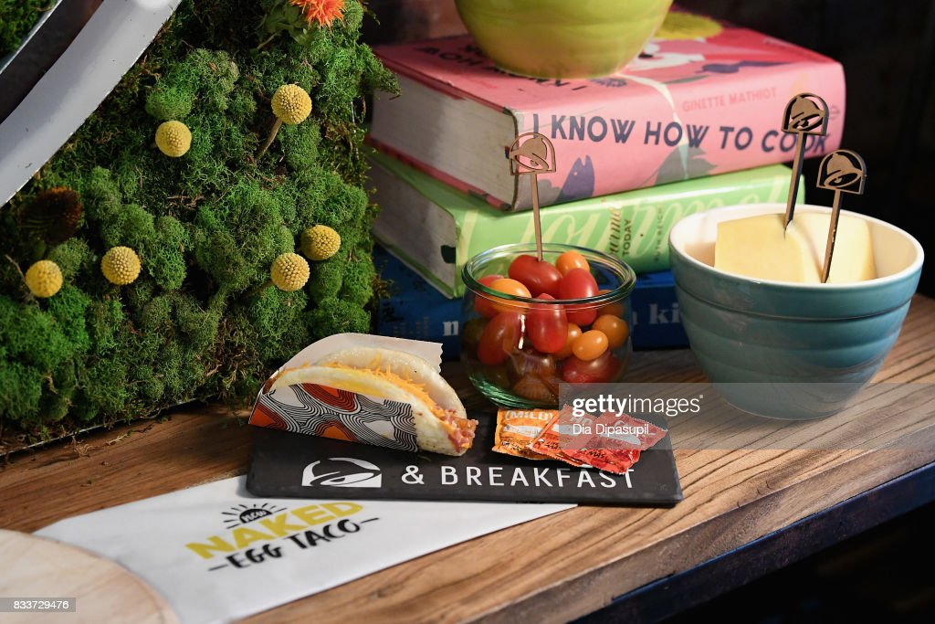 The Naked Egg Taco on displayat the 'Bell & Breakfast' event hosted by Taco Bell to give fans the chance to try the new Naked Egg Taco on August 17, 2017 in New York City.