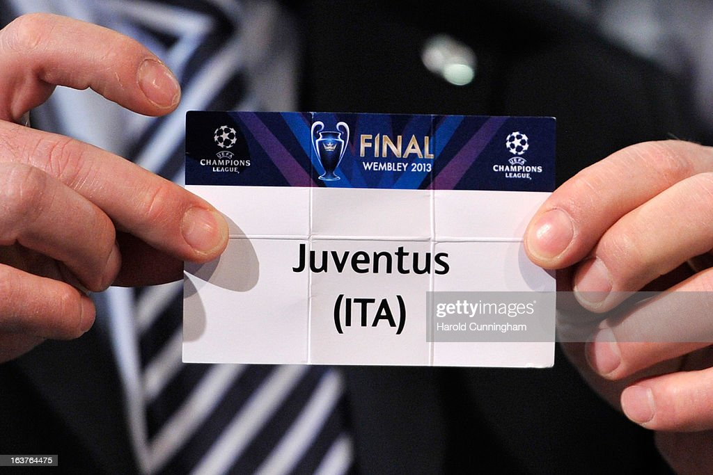 The name Juventus is seen during the UEFA Champions League quarter finals draw rehearsal at the UEFA headquarters on March 15, 2013 in Nyon, Switzerland.