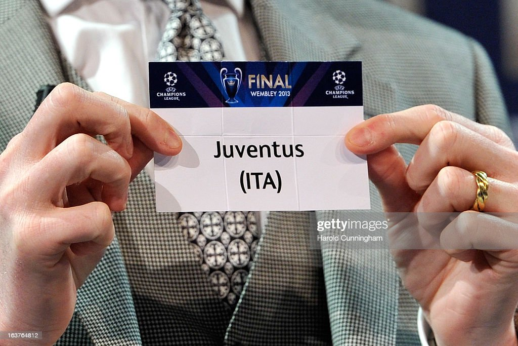 The name Juventus is seen during the UEFA Champions League quarter finals draw at the UEFA headquarters on March 15, 2013 in Nyon, Switzerland.