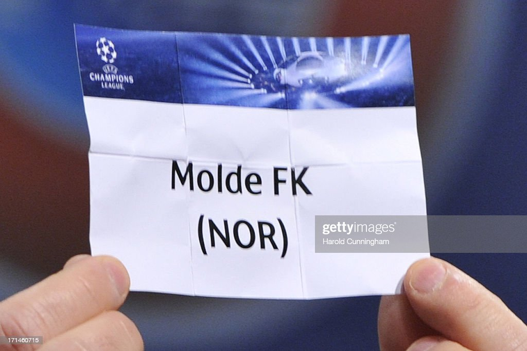 The name Molde FK is seen during the UEFA Champions League Q2 qualifying round draw at the UEFA headquarters on June 24 2013 in Nyon Switzerland