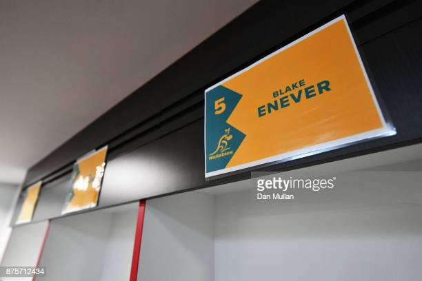The name of Blake Enever of Australia is displayed in the dressing room prior to the Old Mutual Wealth Series match between England and Australia at...