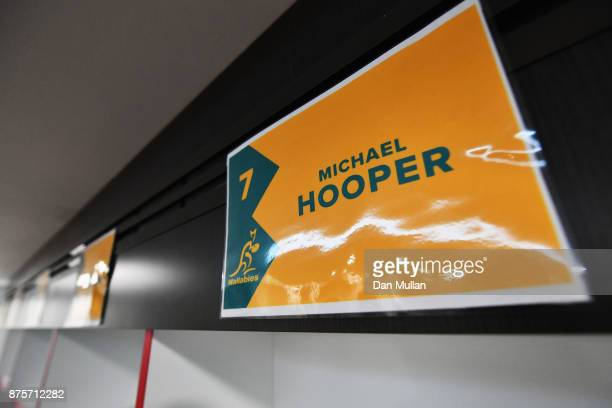 The name of Michael Hooper of Australia is displayed in the dressing room prior to the Old Mutual Wealth Series match between England and Australia...