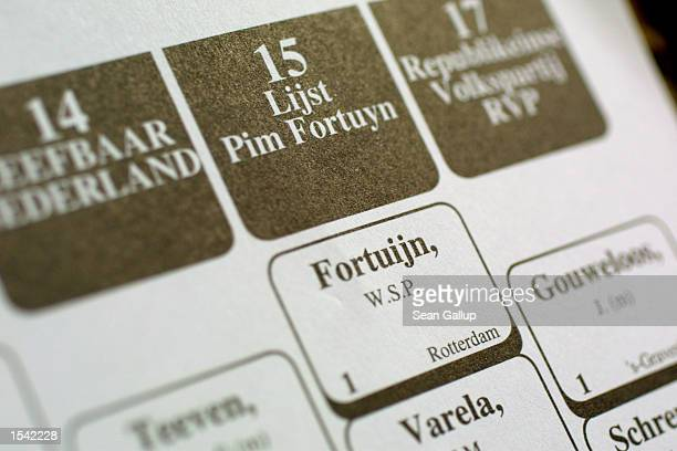 The name of Pim Fortuyn the recently assassinated Dutch rightwing leader is listed on the ballot during parliamentary elections May 15 2002 in The...