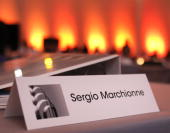The name placard for Sergio Marchionne Chrysler Group LLC Chief Executive Officer and Fiat CEO is shown at his table at the Chrysler Technical Center...