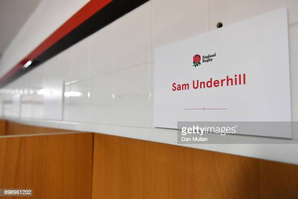 The name plaque of Sam Underhill of England is displayed in the changing room prior to the ICBC Cup match between Argentina and England at Estadio...