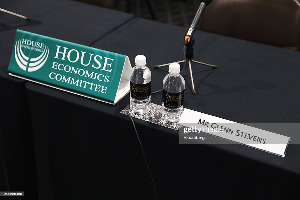 The name plate for Glenn Stevens, governor of the Reserve Bank of Australia, sits on a desk ahead of a hearing before the House of Representatives economics committee in Sydney, Australia, on Friday, Feb. 12, 2016. Australia has the flexibility to ease monetary policy further if that will aid the economy, Stevens said Friday as he gauges the sustainability of recent jobs strength against the potential impact of global market upheaval on demand. Photographer: Brendon Thorne/Bloomberg via Getty Images
