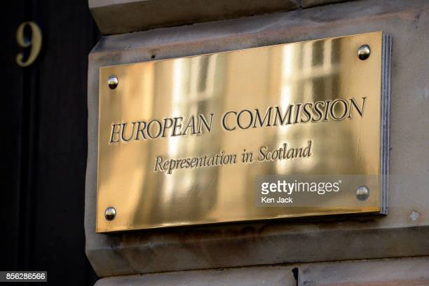 The nameplate outside the offices of the European Commission as proCatalonia demonstrators march through the West End of Edinburgh to protest against...