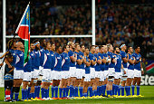 The Namibia team line up for the national anthems during the 2015 Rugby World Cup Pool C match between New Zealand and Namibia at the Olympic Stadium...