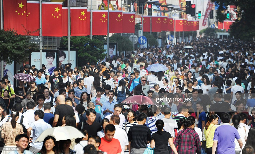 The Nanjing Road is crammed with tourists on the second day of the National Day holiday on October 2 2014 in Shanghai China China's goldenweek...
