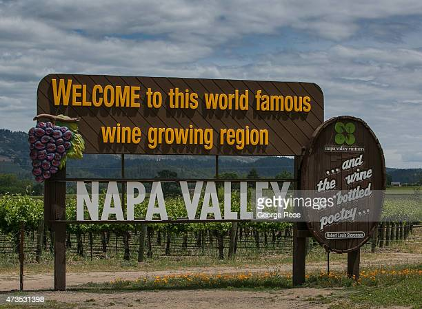 The Napa Valley welcome sign isi viewed on May 7 in Oakville California Despite a drought that is in its fourth year California's North Coast...