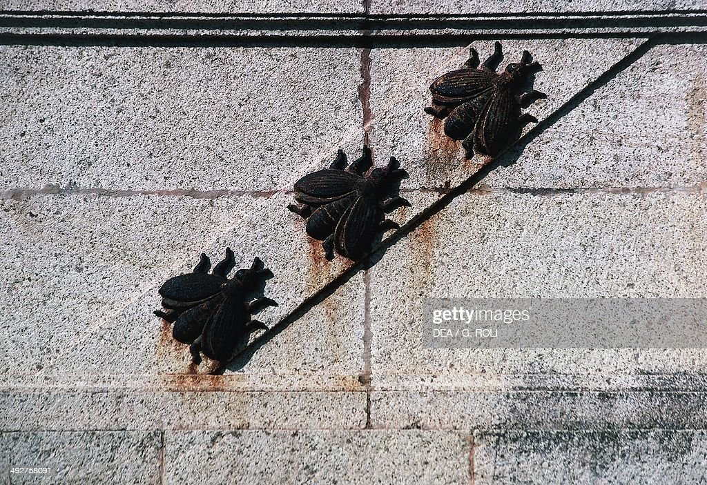 The Napoleonic symbol of the three bees basrelief in metal Villa San Martino the summer residence of Napoleon Bonaparte near Portoferraio Elba Tuscan...