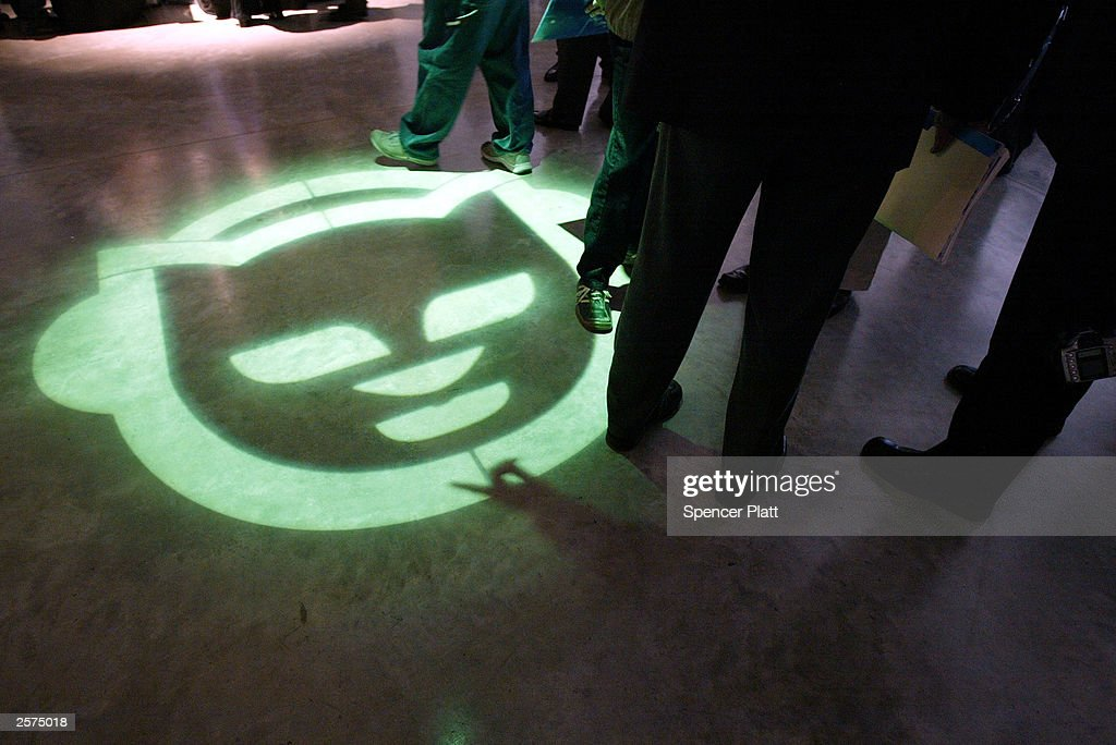 The Napster logo is displayed October 9, 2003 on the floor during the launch of Napster 2.0 in New York City. The new Napster service will be available in the United States beginning October 29, 2003. Napster 2.0 users will have access to more than a half-million songs from all the major music labels. Individual songs can be download for 99 cents and albums for $9.95.