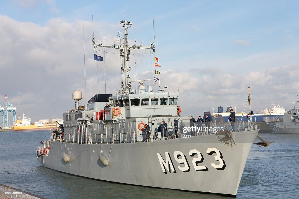 The Narcis ship pictures upon arrival of the Belgian Naval Components Godetia (A960, command and logistical support ship) and Narcis (M923, minehunter) at Zeebrugge naval base, on December 12, 2012. The ships left in August and were part of NATO international excercices and operations SNMCMG1 (Standing NATO Mine Countermeasures Group 1). AFP PHOTO / BELGA PHOTO KURT DESPLENTER