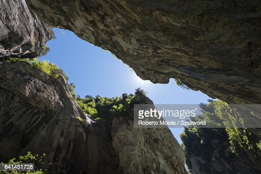 The narrow canyon Aare Gorge Switzerland
