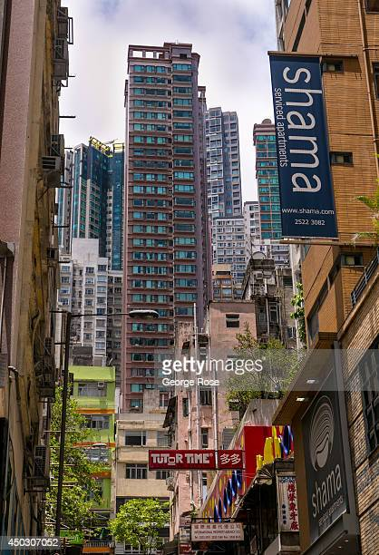 The narrow streets signs and highrise apartments near the Central Hong Kong escalators are viewed on May 27 in Hong Kong China Viewed as the world's...