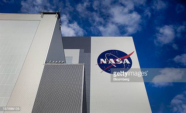 The NASA logo is seen on the outside of the Vehicle Assembly Building at the NASA Kennedy Space Center in Cape Canaveral Florida US on Tuesday Jan 17...