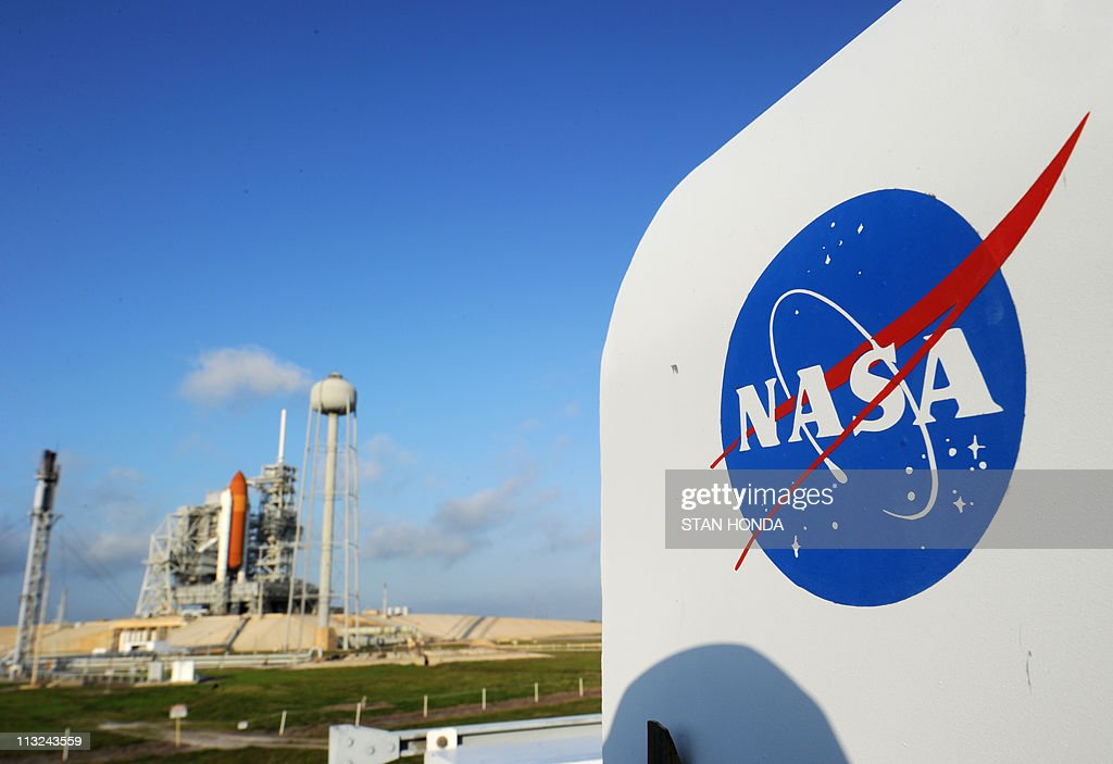 The NASA logo on a protective box for a camera near the space shuttle Endeavour April 28, 2011 at Kennedy Space Center in Florida as preparations are under way for an April 29 launch of Endeavour, which will be its last flight. AFP PHOTO/Stan HONDA