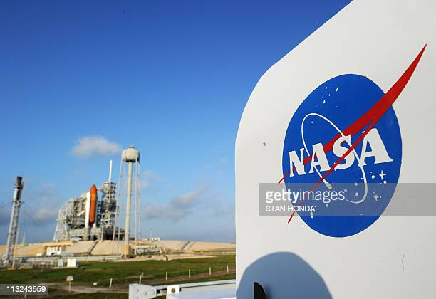 The NASA logo on a protective box for a camera near the space shuttle Endeavour April 28 2011 at Kennedy Space Center in Florida as preparations are...