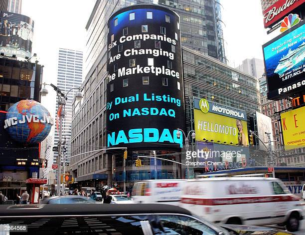The Nasdaq electronic Times Square billboard displays the message that six bluechip companies that will list their shares on the Nasdaq as well as...