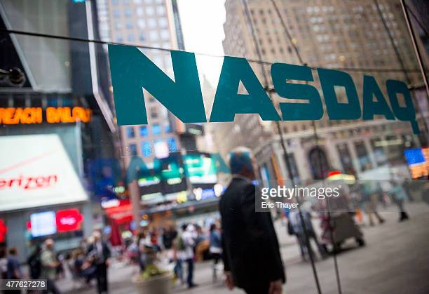 The NASDAQ exchange is seen in New York City June 18 2015 The Nasdaq Composite rose 13% Thursday to an intraday record of 514332 above the previous...