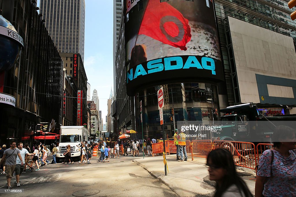 The Nasdaq stock market is viewed one day after the the electronic exchange experienced a a three-hour trading delay due to a technical problem on August 23, 2013 in New York City. Both Wall Street and Nasdaq were operating normally on Friday with stocks up slightly in afternoon trading.