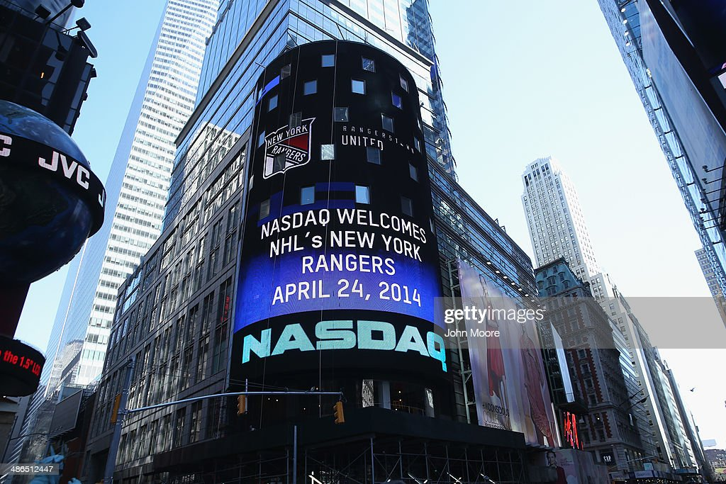 The NASDAQ Stock Market welcomes the Philadelphia Flyers after former players rung the closing bell on April 24 2014 in New York City Game four of...