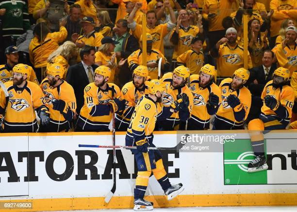 The Nashville Predators bench congratulate Viktor Arvidsson after he scored the Predators third goal of Game Four of the 2017 NHL Stanley Cup Final...
