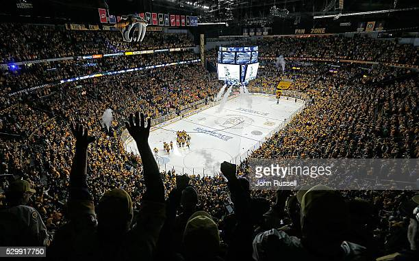 The Nashville Predators celebrate a 43 overtime win against the San Jose Sharks in Game Six of the Western Conference Second Round during the 2016...