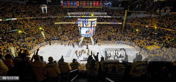 The Nashville Predators celebrate a 63 series win against the Anaheim Ducks in Game Six of the Western Conference Final during the 2017 NHL Stanley...