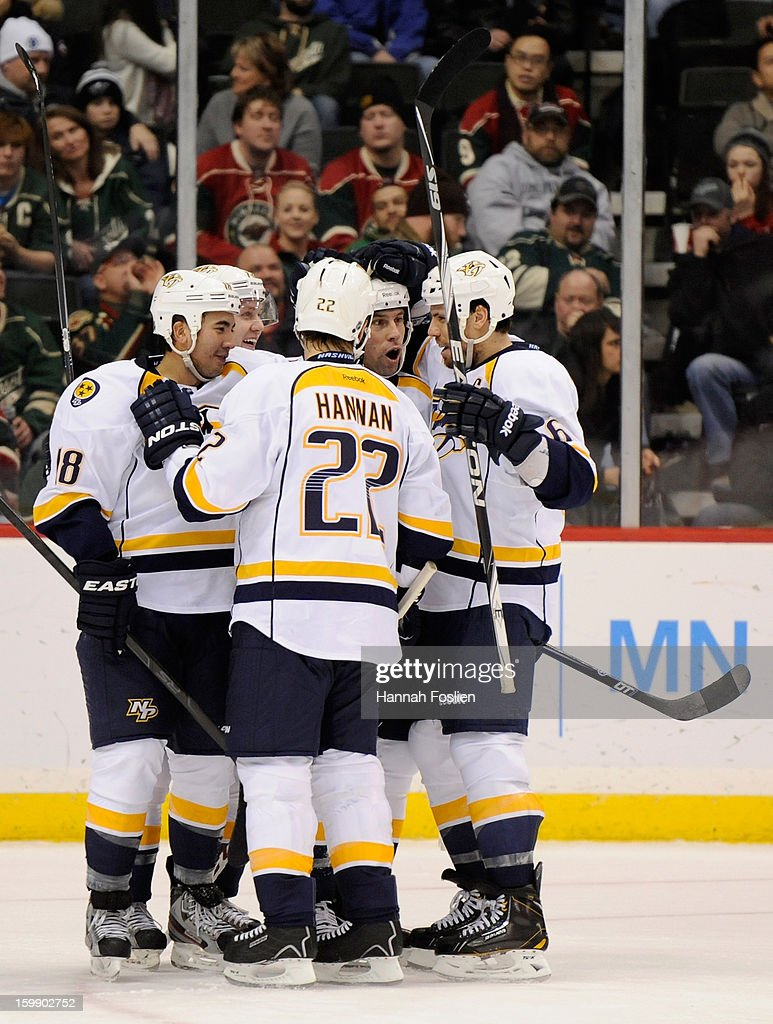 The Nashville Predators celebrate a power play goal by <a gi-track='captionPersonalityLinkClicked' href=/galleries/search?phrase=David+Legwand&family=editorial&specificpeople=202553 ng-click='$event.stopPropagation()'>David Legwand</a> #11 during the third period of the game against the Minnesota Wild on January 22, 2013 at Xcel Energy Center in St Paul, Minnesota. The Predators defeated the Wild 3-1.