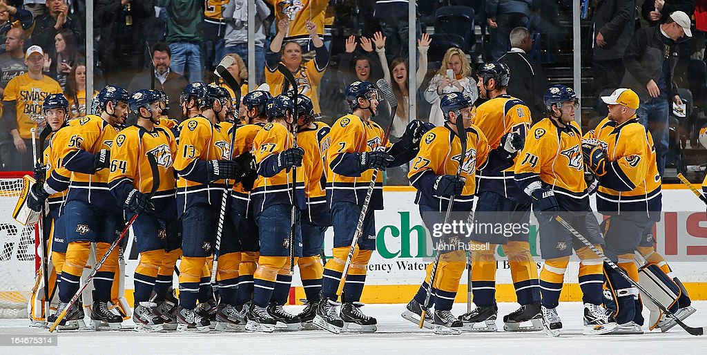 The Nashville Predators celebrate a win against the Edmonton Oilers during an NHL game at the Bridgestone Arena on March 25, 2013 in Nashville, Tennessee.