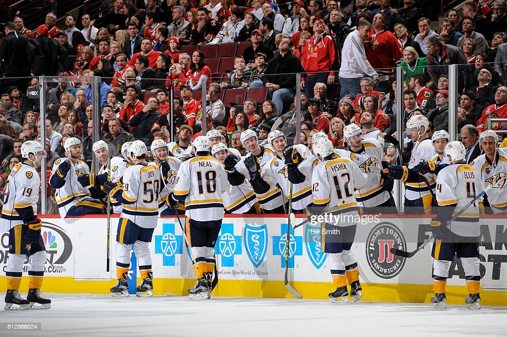 The Nashville Predators celebrate after scoring against the Chicago Blackhawks in the third period of the NHL game at the United Center on February 25, 2016 in Chicago, Illinois.