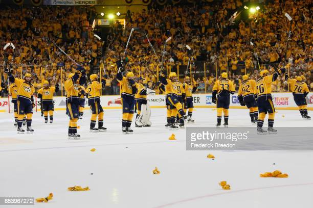 The Nashville Predators celebrate defeating the Anaheim Ducks 21 in Game Three of the Western Conference Final during the 2017 Stanley Cup Playoffs...