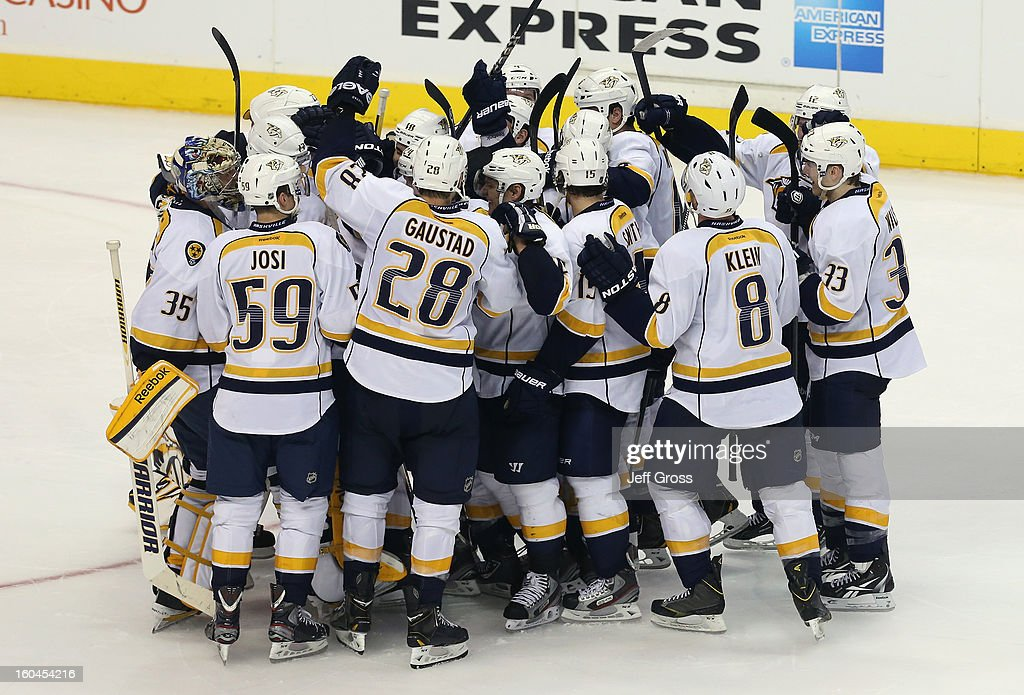 The Nashville Predators celebrate their 2-1 shootout victory over the Los Angeles Kings at Staples Center on January 31, 2013 in Los Angeles, California.