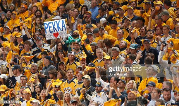 The Nashville Predators fans cheer the team on against the Anaheim Ducks in Game Six of the Western Conference Final during the 2017 NHL Stanley Cup...