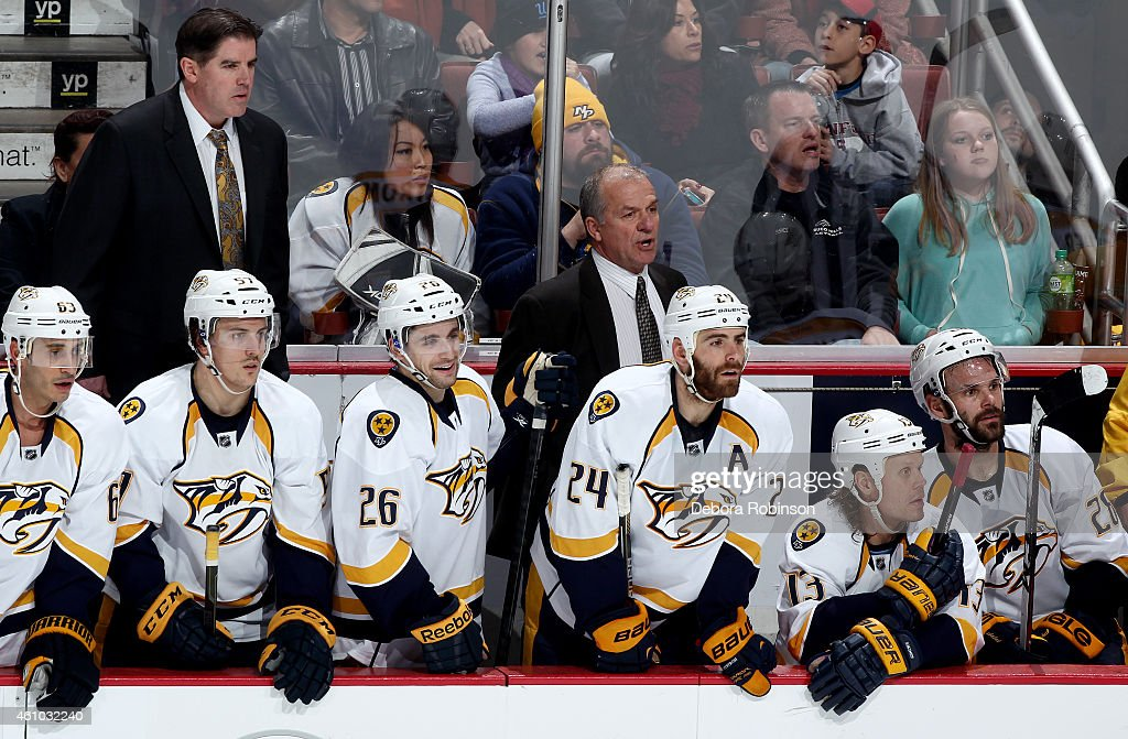 The Nashville Predators look on from the bench during the game against the Anaheim Ducks on January 4, 2015 at Honda Center in Anaheim, California.